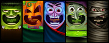 Set Of Vertical Banners For Halloween With Scary Characters