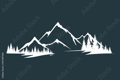 Vector isolated illustration with rocky mountain peak silhouette with fir trees and tree valley Fototapet
