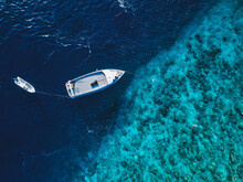 Aerial View Of Boat In Indian Ocean