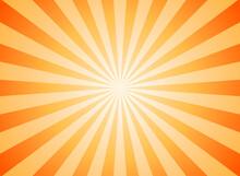 Sunlight Abstract Background. Orange And Gold Color Burst Background. Vector Illustration.