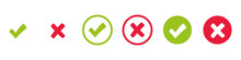 Check Mark And X Set Icon. Simple Web Buttons. Checkmarks And X Or Confirm. Round Checkmark.
