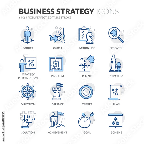Cuadros en Lienzo Line Business Strategy Icons
