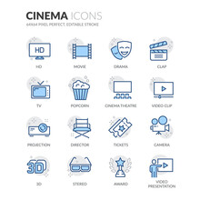 Simple Set Of Cinema Related Vector Line Icons.  Contains Such Icons As Movie Clip, Popcorn, Tickets And More. Editable Stroke. 64x64 Pixel Perfect.