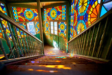Wooden Stair With Colored Kaleidoscopic Balcony In Old Antique House In Tbilisi, Georgia Country