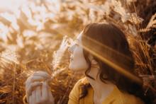 Girl Warm Autumn Sun Rays Yellow Sunset