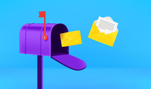 Opened Mail Box With Flying Letters. Receiving Mail Concept