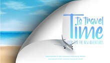 Time To Travel Banner With Airplane In The Sky And Realistic Beach With Sand And Ocean Waves From Top View.