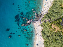 Aerial View Of Michelino Beach In Parghelia, Tropea. Calabria. Italy. Transparent Sea And Luxuriant Nature. The Most Beautiful Beach In Europe