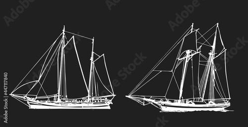 Vászonkép Sailing ship, graphic hand drawing