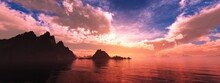Cove Of Rocks At Sunset, Rocky Coast At Sunrise, Seascape, 3D Rendering