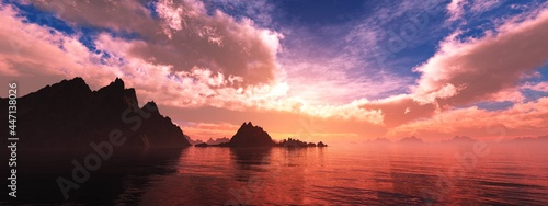 Canvas Cove of rocks at sunset, rocky coast at sunrise, seascape, 3D rendering
