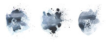 Black Art Watercolor Flow Blot With Drops Splash. Abstract Texture Color Stain On White Background. Collection.