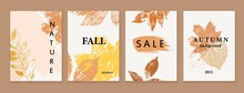 Set Of Autumn Backgrounds, Cards, Shop Banners. Grunge Texture Colorful Leaves. Natural Eco Design.
