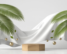 Abstract Wooden Platform Podium Showcase For Product Display With Palm Leaves 3d Render