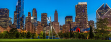 Chicago City Skyline From Maggie Daley Park