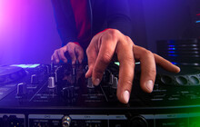 Dj Hands On The Turntable.