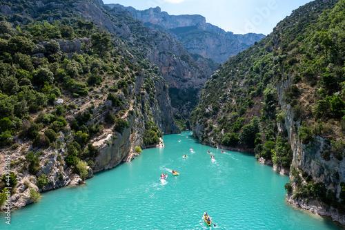 Fotografija National park Grand canyon du Verdon and turquoise waters of mountains lake Sain