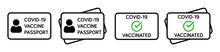 Vaccine Passport Vector Icon Set. Covid-19 Coronavirus Vaccine Certificate Icons.