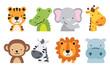 Cute wild safari jungle animals including a tiger, crocodile, alligator, elephant, giraffe, monkey, zebra, lion, and hippo. Vector illustration of jungle animal faces and heads.