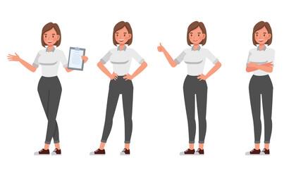 Fototapeta na wymiar Businesswoman working in office character vector design. Presentation in various action.