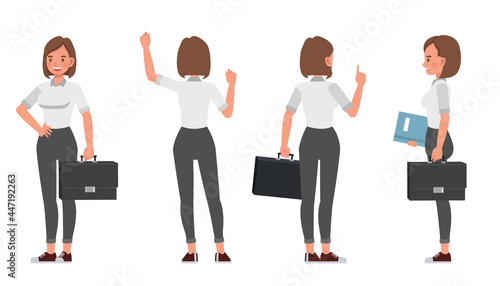 Businesswoman working in office character vector design. Presentation in various action.