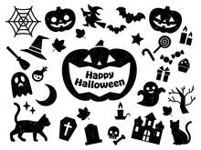 ハロウィンの判子風アイコンセット(黒) Halloween Icon Rubber Stamp Vector Art