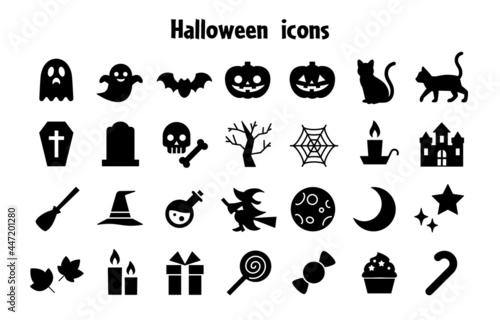 Photo ハロウィンのシルエットアイコンセット Halloween silhouette icons vector art