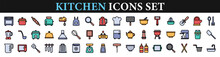 Kitchen Icons. Kitchen And Cooking Flat Web Icon Set.