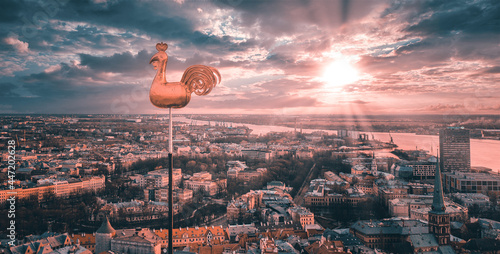 Beautiful aerial view of the city from above with a golden cock in the middle Fotobehang