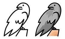 Cute Crow Coloring Page For Kids