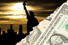 Die Freiheitsstatue In New York Und Dollar Geldscheine