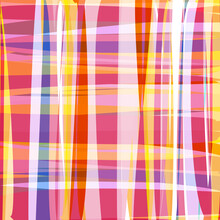 Abstract Checkered Mosaic Background, Bright Curly Elements And Colored Brush Strokes In Warm Colors. Fashionable And Glamorous Decoration Of Any Of Your Bold Advertising Projects.