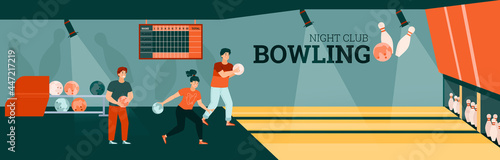 Photo Interior of game zone with girl and guys playing bowling with balls and pins