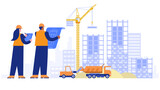Construction site concept. Architect and engineer working with blueprint, making measurements, crane building house from plates, special machinery work. Vector illustration scene with characters