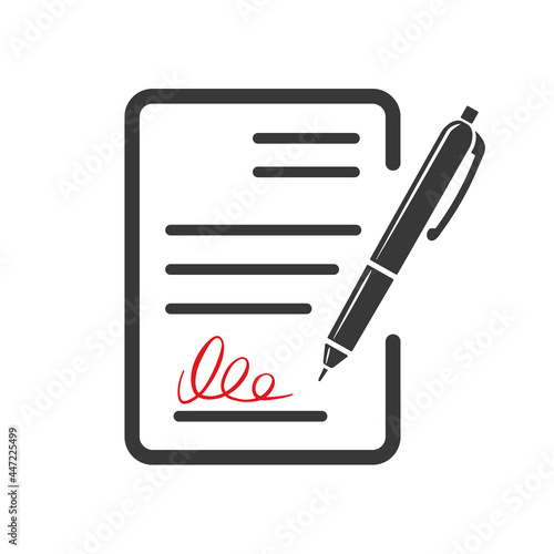 Tela Contract document icon, agreement and signature, pact, accord, convention symbol