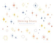 手描きのキラキラや星のイラストセット アイコン 光 輝き シンプル 飾り 装飾 スター 手書き