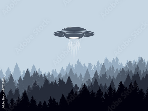 Fotografering Ufo. Flying spaceship, landscape background. Vector illustration
