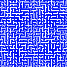 Blue And White Geometric Pattern. Linear Maze Design. Labyrinth Texture.