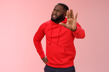 Hold On, Stop Right There. Portrait Confused Perplexed African American Man Cringing Questioned Raise Hand Enough Shut Up Gesture Arguing Hear Stupid Nonsense, Standing Pink Background