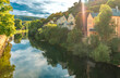 Leinwandbild Motiv Peaceful scenery of a spa town by the river called Bad Kreuznach in Germany