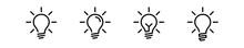 Lamp Bulb Idea Icon. Vector Lightbulb Creativity Concept Outline Modern Design Isolated On White Background