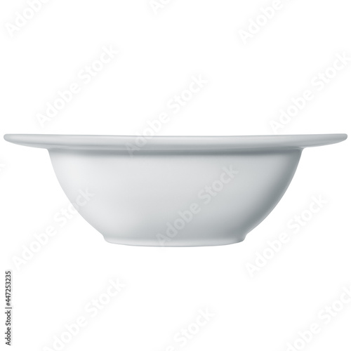 Fotografering Deep white ceramic bowl with wide edges