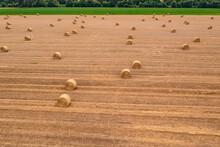 Luftaufnahme Von Strohballen Auf Einem Geernteten Feld Mit Einem Grünen Blühstreifen