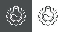 Laboratorio De Química. Icono Plano Engranaje Con Probeta De Forma Circular Con Tapón Con Lineas En Fondo Gris Y Fondo Blanco