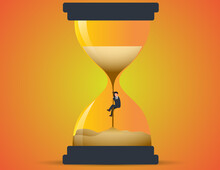 Businessman Climbing Up Sand In Hourglass. Concept Losing Time