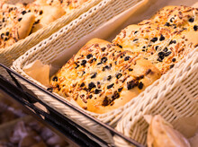 Bread Wheat Tortilla With Cheese And Black Olives On Bakery Counter