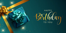 Happy Birthday Vector Template Design. Happy Birthday Greeting Text With Gift And Elegant Ribbon Decoration Element In Empty Space For Birth Day Celebration Card Design. Vector Illustration