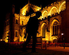 Silhouette Of WWI Soldier Outside Ripon Cathedral