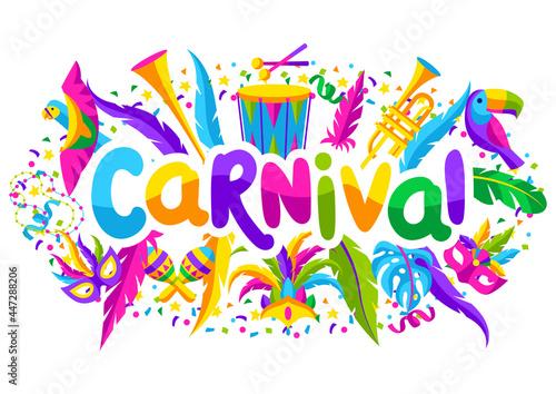 Obraz na plátně Carnival party background with celebration icons, objects and decor