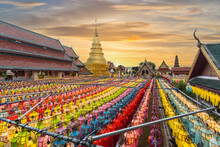 Wat Phra That Hariphunchai Pagoda With Light Festival, Thailand.